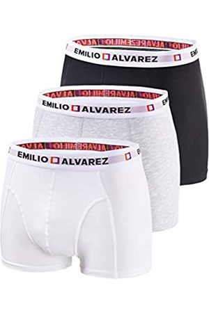 EMILIO ALVAREZ Boxershorts, Black/White/Grey, 3er Pack, L Calzoncillos bóxers, Hombre