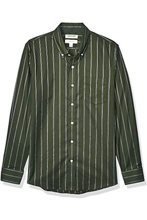 Goodthreads Slim-fit Long-Sleeve Stretch Oxford Shirt (All Hours) Camisa abotonada, Olive White Triple Stripe