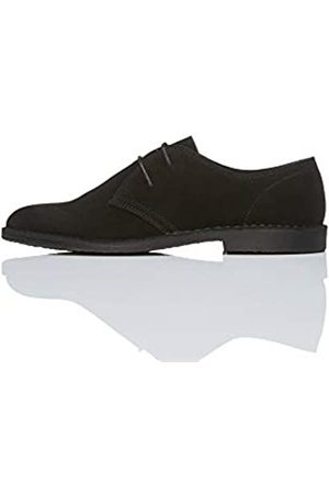 FIND Suede Zapatos de Cordones Derby, (Black)