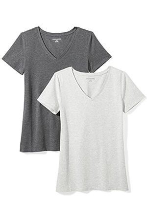 Amazon 2-Pack Short-Sleeve V-Neck Solid T-Shirt Camiseta, Charcoal Light Grey Heather