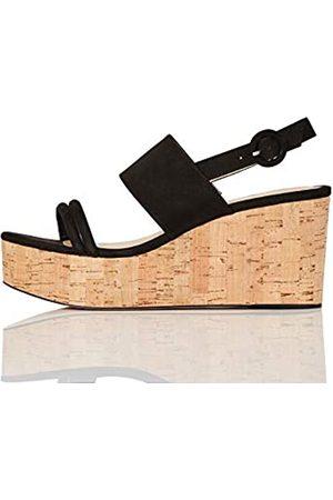 FIND FIND Cork Two Part Sling Back Wedge Zapatos de tacón con Punta Abierta, (Black)