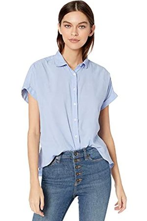 Goodthreads Lightweight Poplin Short-Sleeve Button-Front Shirt Dress-Shirts, Light Blue Dobby Dot