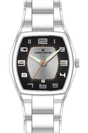 Alpha Saphir 266B - Reloj analógico de caballero de cuarzo con correa de acero inoxidable - sumergible a 30 metros