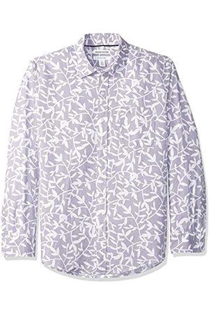 Amazon Camisa regular de lino a cuadros con manga larga para hombre, Lavendar Leaf Print