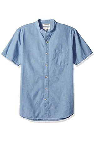 Goodthreads Marca Amazon – – Camisa de manga corta de cambray con cuello en banda de corte estándar para hombre