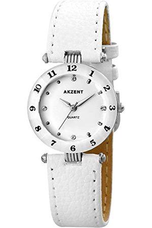 Akzent SS7322000014 - Reloj analógico de mujer de cuarzo con correa de piel blanca - sumergible a 30 metros