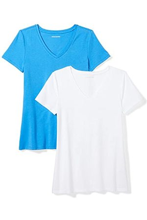 Amazon 2-Pack Short-Sleeve V-Neck Solid T-Shirt Camiseta, Bright Blue/White