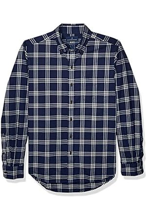 Buttoned Down Slim Fit Supima Cotton Brushed Twill Plaid Sport Shirt Button-Down-Shirts, Marino/ (Navy/White)