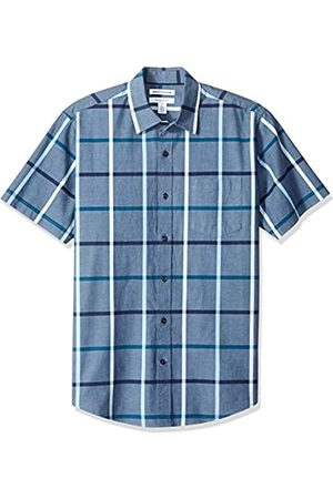 Amazon Essentials – Camisa informal de popelín a cuadros de manga corta de corte recto para hombre