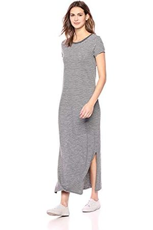 Daily Ritual Lived-In Cotton Short-Sleeve Crewneck Maxi Dress, Heather Grey/White Stripe