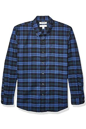 Goodthreads Standard-Fit Long-Sleeve Stretch Oxford Shirt (All Hours) Button-Down-Shirts, Denim Navy Tartan