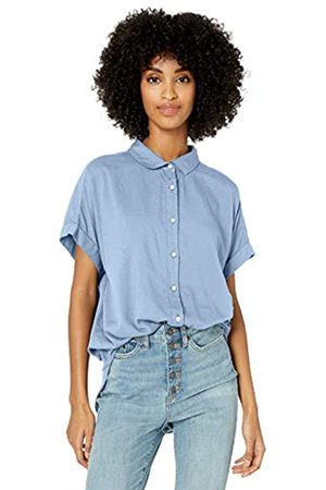 Goodthreads Lightweight Poplin Short-Sleeve Button-Front Shirt Dress-Shirts, Light Blue Novelty Weave