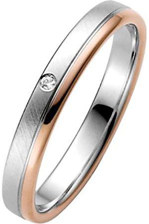 Trauringe Liebe hoch zwei Anillo de oro bicolor de 14 quilates con diamante (.01)