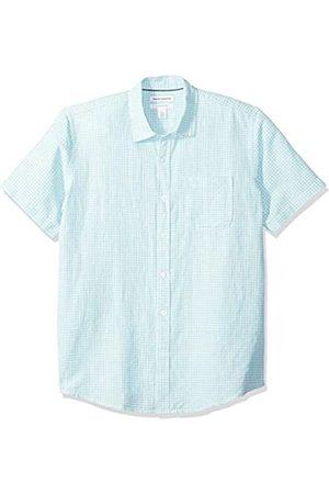 Amazon Camisa a cuadros de lino con manga corta para hombre., aguamarina (Aqua Gingham)
