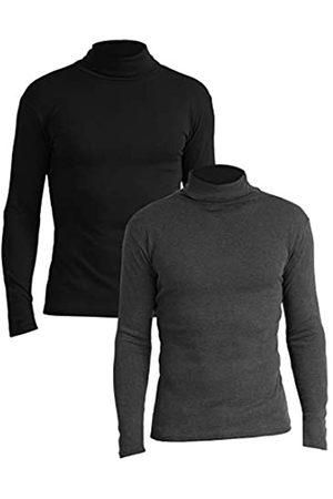 Lower East Slim Fit Rollkragen Shirt Camiseta cuello alto, Schwarz/Anthrazit Melange), Medium