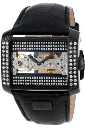 Burgmeister BM152-602 - Reloj analógico de mujer manual con correa de piel negra - sumergible a 30 metros