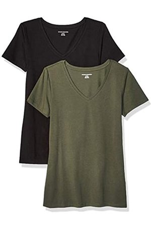 Amazon 2-Pack Short-Sleeve V-Neck Solid T-Shirt Camiseta, Olive/Black