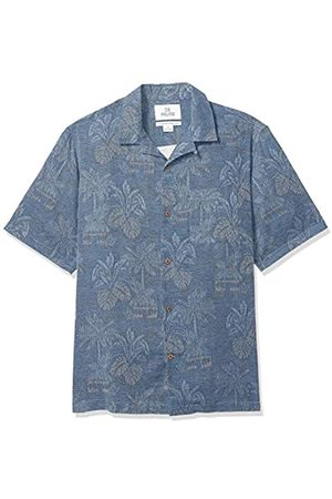 28 Palms Marca Amazon - - Camisa de tejido jacquard fabricada 100 % con seda texturizada y de corte holgado para hombre, diseño de hojas tropicales