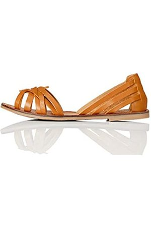 FIND Marca Amazon - FIND Open Toe Hurrache Sandalias de Punta Descubierta, (Tan)