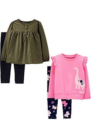 Simple Joys by Carter's Conjunto - Juego de 4 piezas de camisas y pantalones de manga larga - para bebé niña multicolor Olive/Pink Dino 18 Months