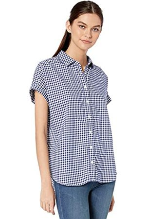 Goodthreads Solid Brushed Twill Short-Sleeve Button-Front Shirt Dress-Shirts, Navy/White Gingham