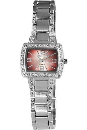 Excellanc 150025500091 - Reloj analógico de mujer de cuarzo con correa de aleación plateada