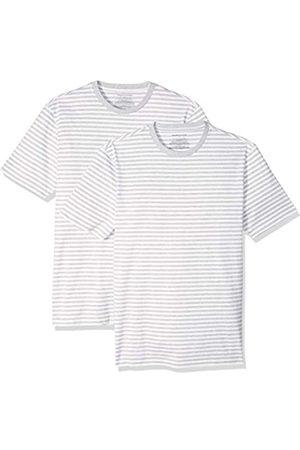 Amazon Pack de 2 camisetas de manga corta con cuello redondo y diseño a rayas para hombre