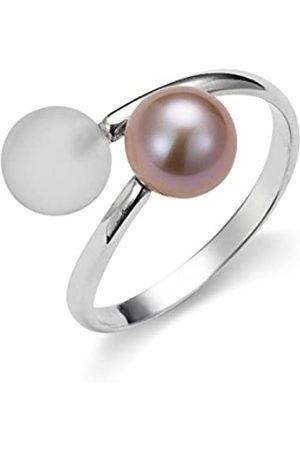 ADRIANA Damen-Anillo 925 de plata rodiada con cristal Blanco Gelato en agua dulce-perla cultivada Gr, 52 (16.6 Tamaño ajustable - AGR6 - GR