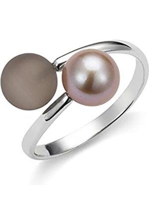 ADRIANA Mujer-ring Gelato 925 plata rodiada con cuarzo subbituminoso agua dulce-perla cultivada talla 54 (17.2 Tamaño ajustable - AGR8 - GR