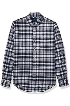 Buttoned Down Slim Fit Supima Cotton Plaid Flannel Sport Shirt Button-Down-Shirts, Navy/Grey