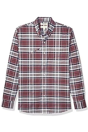 Goodthreads Standard-Fit Long-Sleeve Stretch Oxford Shirt (All Hours) Button-Down-Shirts, Light Burgundy Multi Plaid