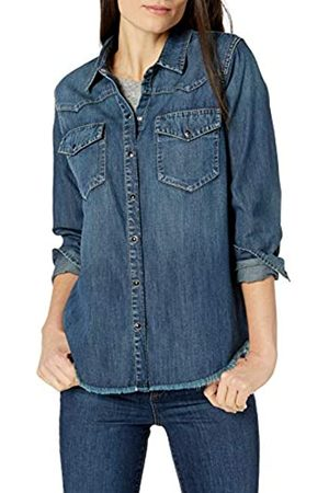 Goodthreads Marca Amazon - Denim Western Shirt Shirts, Raw Hem Dark Wash