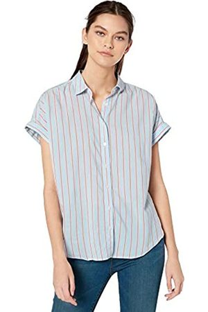 Goodthreads Lightweight Poplin Short-Sleeve Button-Front Shirt Dress-Shirts, Blue/Coral Dobby Stripe