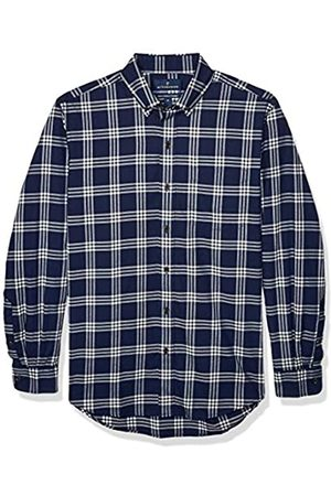Buttoned Down Classic Fit Supima Cotton Brushed Twill Plaid Sport Shirt Button-Down-Shirts, Marino/ (Navy/White)