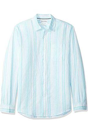 Amazon Hombre Casual - Camisa regular de lino a cuadros con manga larga para hombre
