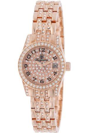 Burgmeister Diamond Star - Reloj analógico de mujer de cuarzo con correa de latón rosa - sumergible a 30 metros
