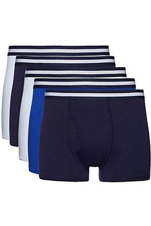 FIND Marca Amazon - Boxer Hombre, Pack de 5 Multicoloured (Navy X2, Wash Blue X2, Royal X1) Small