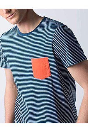 El ganso Colección Casual Denim, Camiseta de Rayas con Bolsillo, para Hombre, Manga Corta, Talla XL