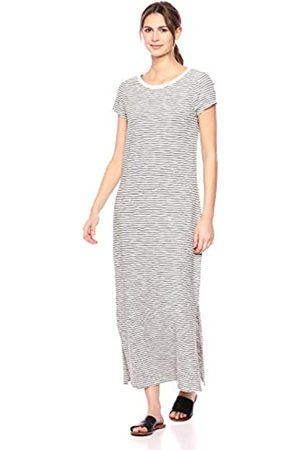 Daily Ritual Lived-In Cotton Short-Sleeve Crewneck Maxi Dress, Natural/Black Stripe