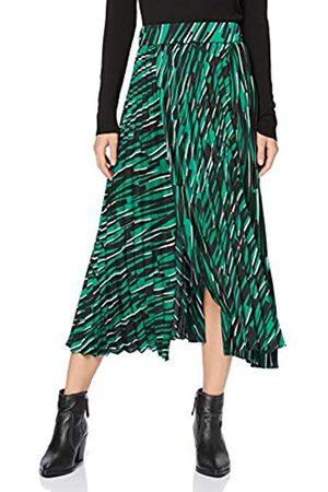 Liquorish Pleated Midaxi Skirt In Green Abstract Animal Print Falda