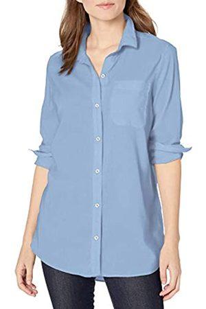 Goodthreads Lightweight Poplin Long-Sleeve Boyfriend Shirt Button-Down-Shirts, Light Blue Novelty Weave