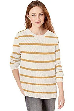 Goodthreads Cotton Half-Cardigan Stitch Crewneck Sweater Sweaters, Oatmeal/Gold Stripe
