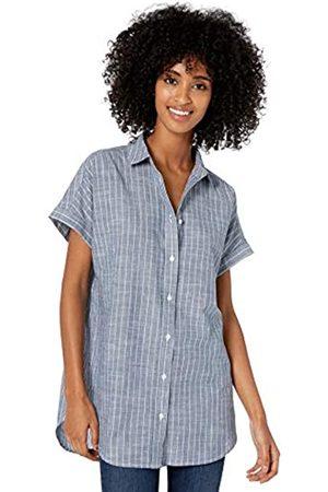 Goodthreads Washed Cotton Short-Sleeve Tunic Button-Down-Shirts, Dark Blue/White Pinstripe