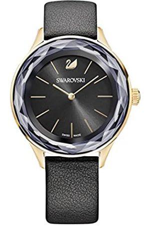 Swarovski Reloj Octea Nova, correa de piel negra, baño de PVD en tono oro rosa