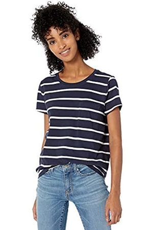 Goodthreads Washed Jersey Cotton Pocket Crewneck T-Shirt Fashion-t-Shirts, Navy Open Stripe