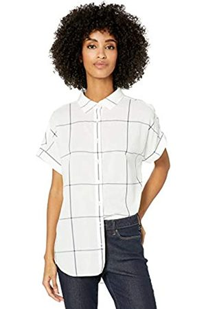 Goodthreads Lightweight Poplin Short-Sleeve Button-Front Shirt dress-shirts, Off-white/Navy Windowpane