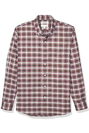 Goodthreads Standard-Fit Long-Sleeve Stretch Oxford Shirt (All Hours) Button-Down-Shirts, Red White Check
