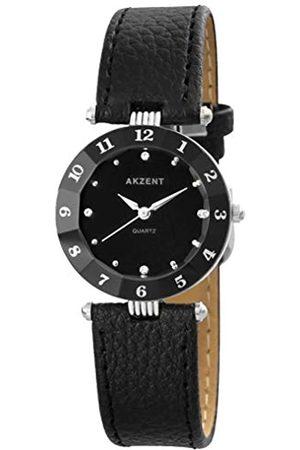 Akzent SS7321000014 - Reloj analógico de mujer de cuarzo con correa de piel negra - sumergible a 30 metros