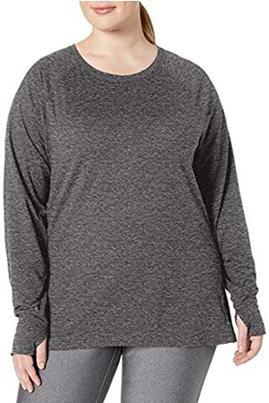 Amazon Plus Size Brushed Tech Stretch Long-Sleeve Crew Fashion-t-Shirts, Dark Grey Space Dye
