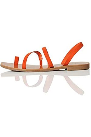 FIND Marca Amazon - FIND Flat Gladiator Sandalias de Gladiador, (Rust Red)